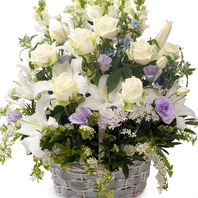 백합 백장미꽃바구니